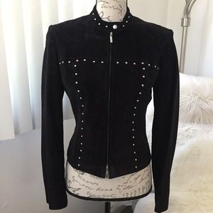 Bebe Genuine Suede Leather Studded Moto Jacket XS